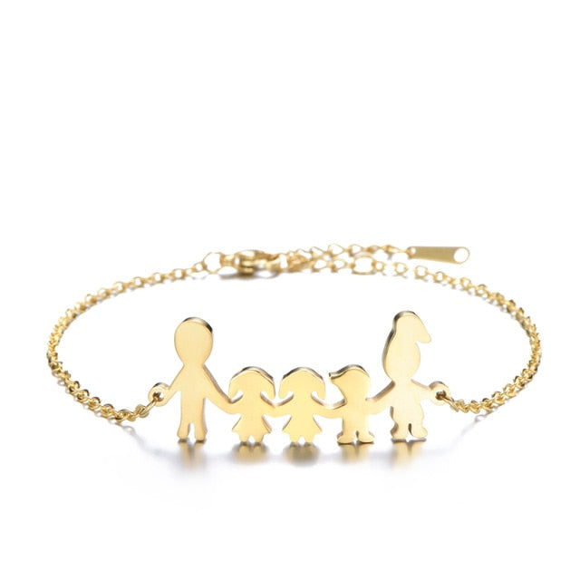 Family charm gold steel bracelet
