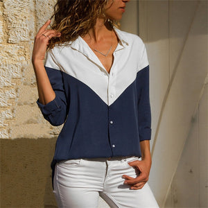 Women Blouses Fashion Long Sleeve Collar Shirt Navy Blue 2 / S