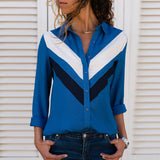 Women Blouses Fashion Long Sleeve Collar Shirt Blue 1 / S