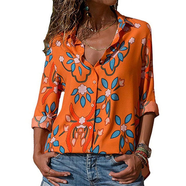 Women Blouses Fashion Long Sleeve Collar Shirt Orange / S