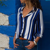 Women Blouses Fashion Long Sleeve Collar Shirt Navy Blue 1 / S