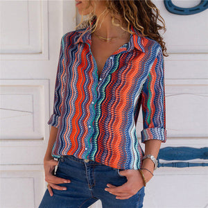 Women Blouses Fashion Long Sleeve Collar Shirt Multicolour-3 / S