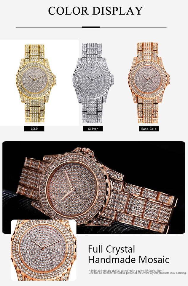 Crystal diamond bling watch