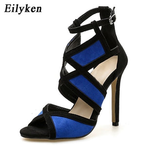 Summer High Heel Shoes blue / 4