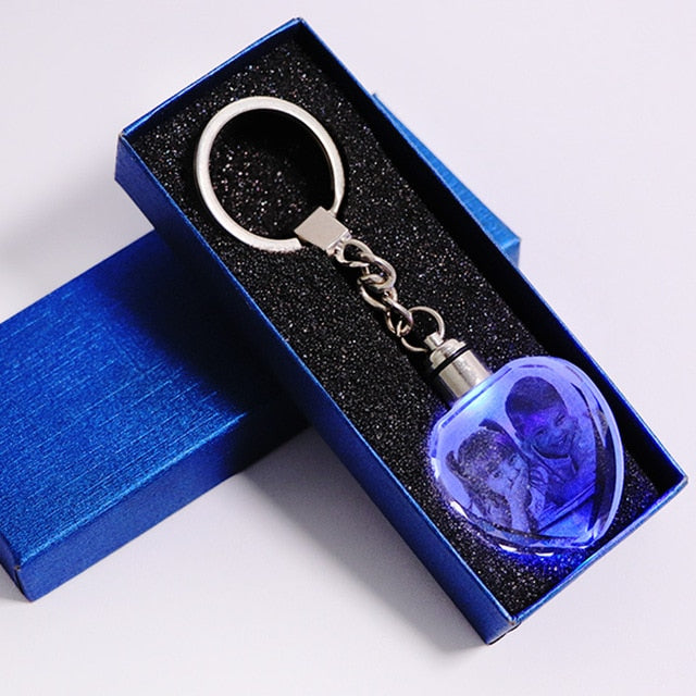 LASER ENGRAVED CRYSTAL GLASS WITH COLOR CHANGING LED LIGHTS Heart with gift box