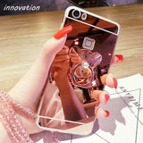 Diamond Rhinestone Mirror Cover For iPhone For iPhone XS Max / Rose Gold Bear