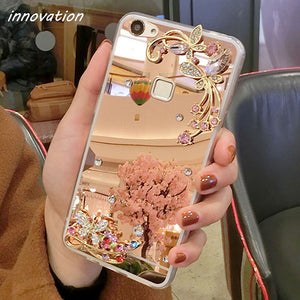 Diamond Rhinestone Mirror Cover For iPhone For iPhone 5 5S SE / Rore Gold flower