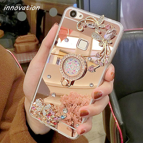 Diamond Rhinestone Mirror Cover For iPhone For iPhone 6 6S / Rore Gold Stand
