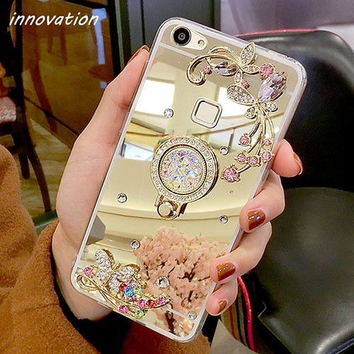 Diamond Rhinestone Mirror Cover For iPhone For iPhone XS Max / Gold Stand Ring