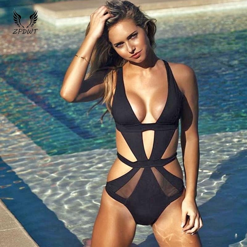 One Piece Mesh Cut Out Swimwear