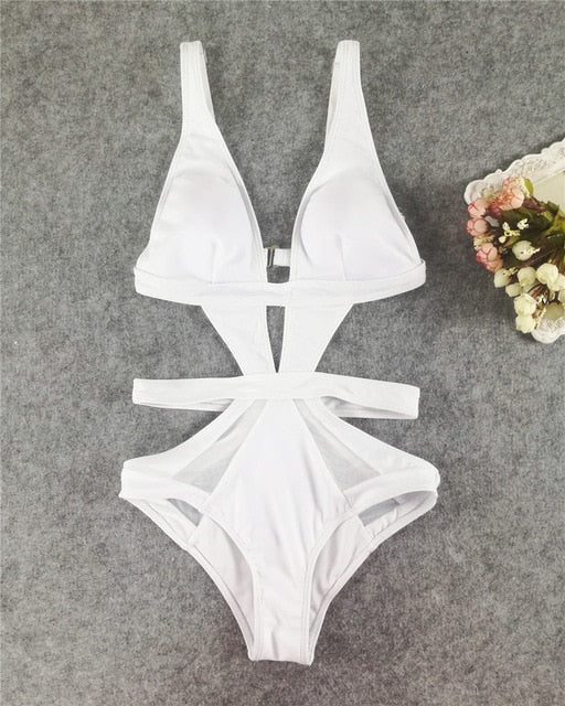 One Piece Mesh Cut Out Swimwear D71white / L