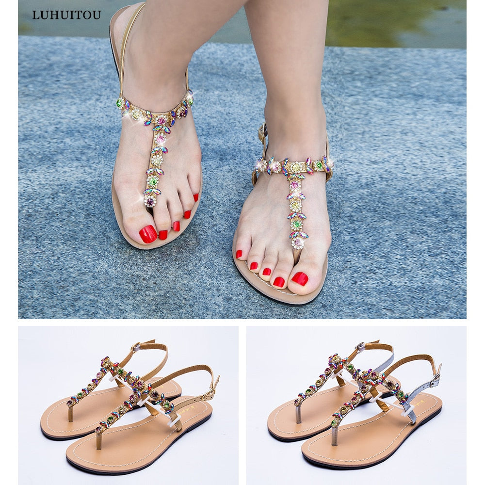 Beach flat shining rhinestones summer sandals