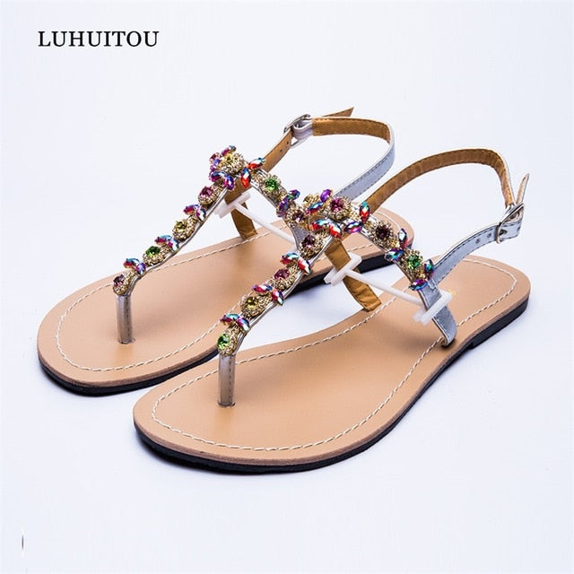 Beach flat shining rhinestones summer sandals Silver / 5