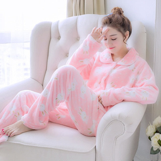 Thick flannel Winter Female Pajamas Color 8 / XL