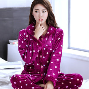 Thick flannel Winter Female Pajamas Color 20 / XL