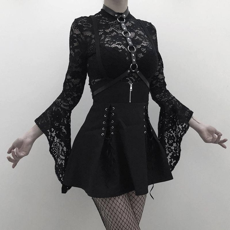 Two Piece Goth Sexy Lace Bodysuit Romper