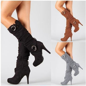Mid-calf thin heels winter boots