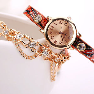 Rivet chain leather wristwatch bracelet