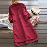 Casual long sleeve long shirt dress