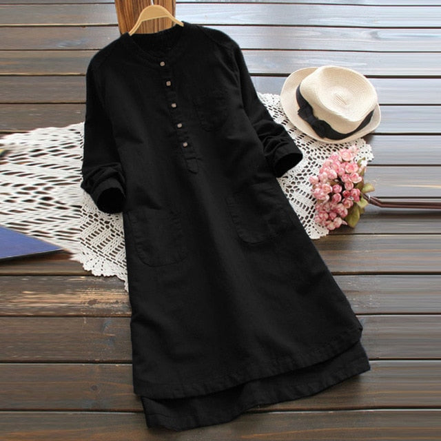 Casual long sleeve long shirt dress Black / S