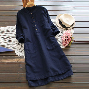 Casual long sleeve long shirt dress Navy / S