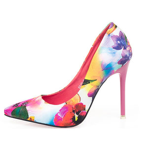Retro Flowers Floral Pointed High Heels