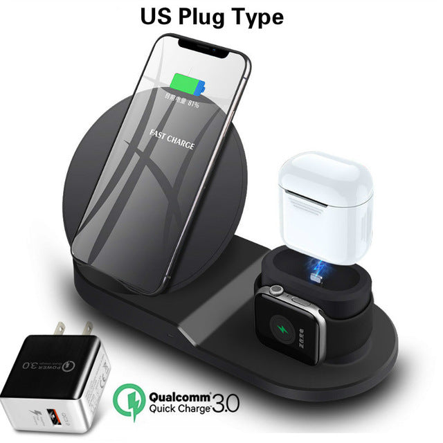 WIRELESS CHARGER STAND FOR IPHONE AIRPODS & APPLE WATCH Black US plug
