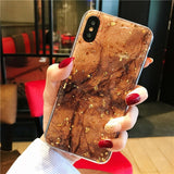 Gold Bling Marble Cover Case For iPhone T2 / for iphone X