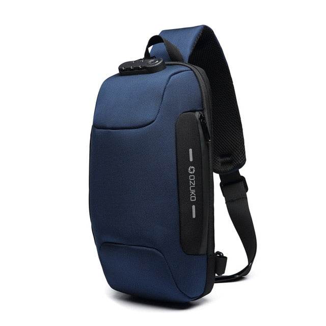 Anti-theft Backpack With 3-Digit Lock Blue / 17x8x34CM