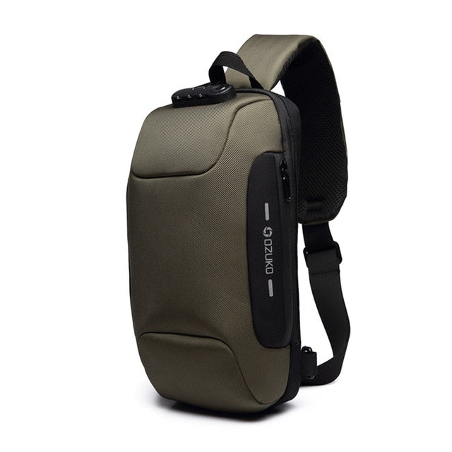 Anti-theft Backpack With 3-Digit Lock Green / 17x8x34CM