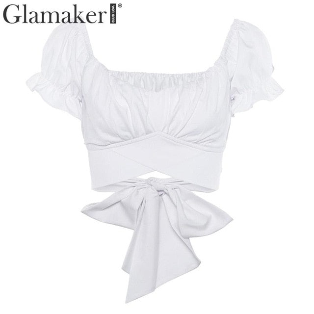 Sexy ruffle off-shoulder crop top White / S