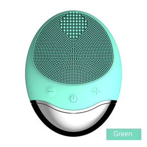 Wireless charge Electric Face wash Cleaning Brush green 5