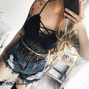 Sexy Lace Strap V Neck Crop Top