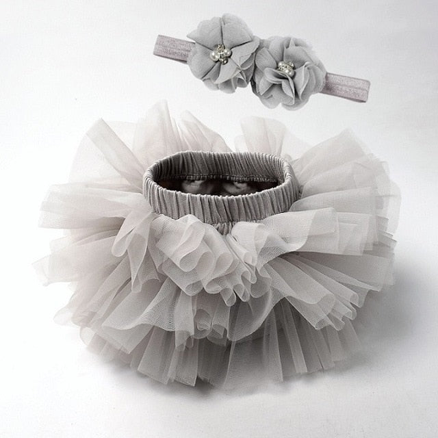 Baby girl lace bloomers diaper cover tutu gray / 18M
