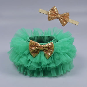 Baby girl lace bloomers diaper cover tutu green / 18M