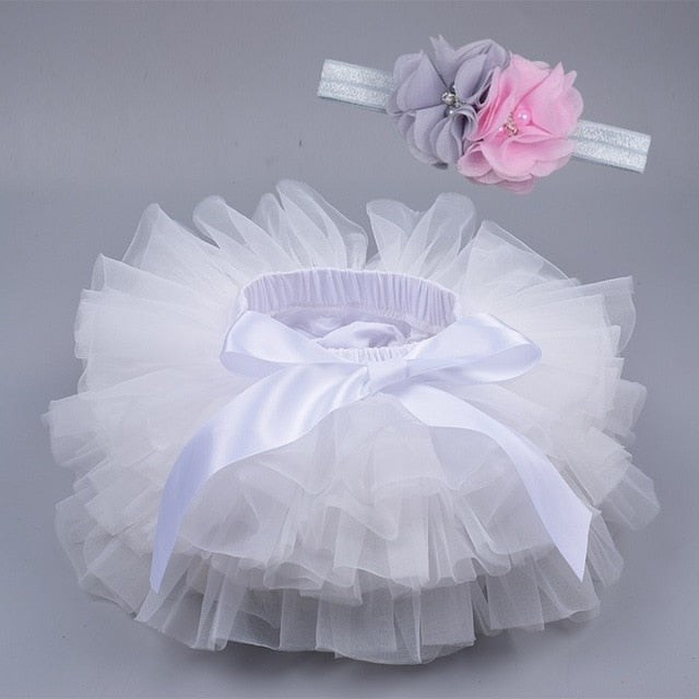 Baby girl lace bloomers diaper cover tutu white / 18M