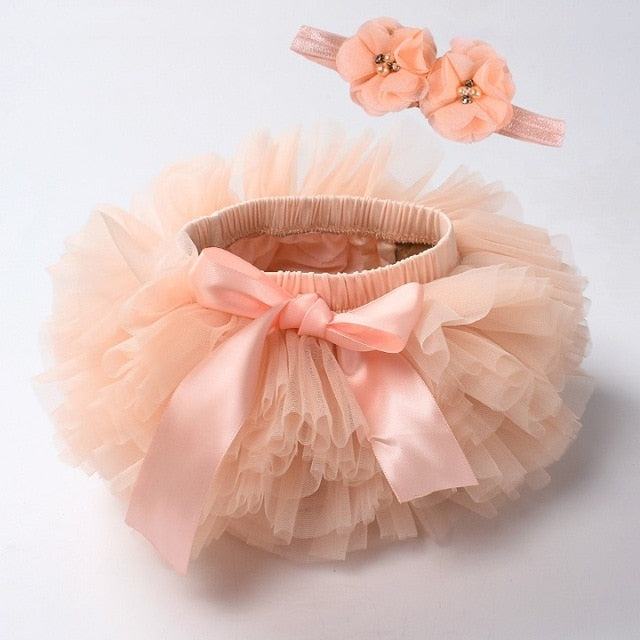 Baby girl lace bloomers diaper cover tutu peach / 18M