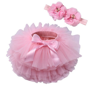 Baby girl lace bloomers diaper cover tutu pink / 18M