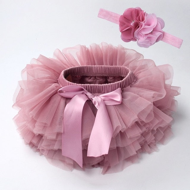 Baby girl lace bloomers diaper cover tutu beansand / 18M