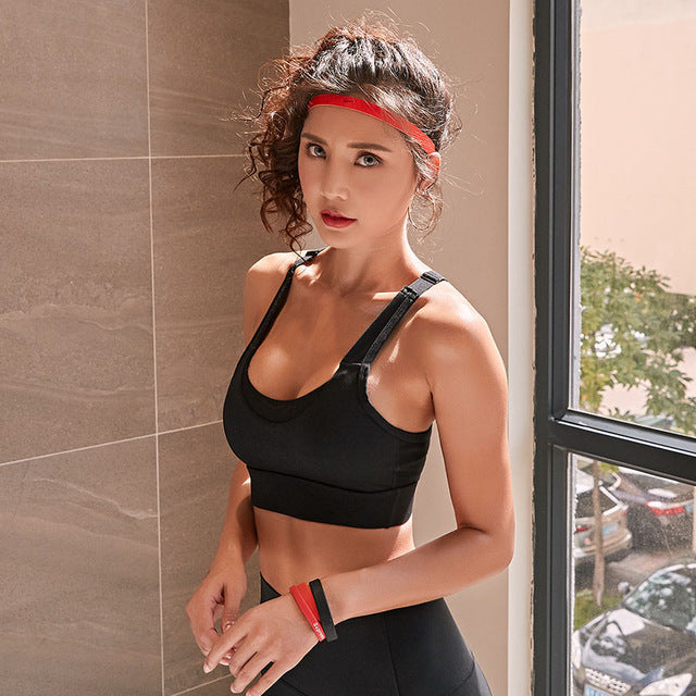 Push up wire free sports bra black / S