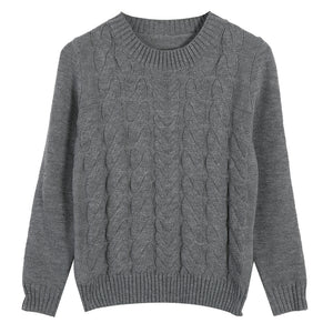 Solid color classic knitted sweater