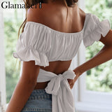 Sexy ruffle off-shoulder crop top