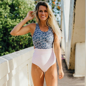 Sexy One Piece Swimsuit Swimwear Bluefloral / S