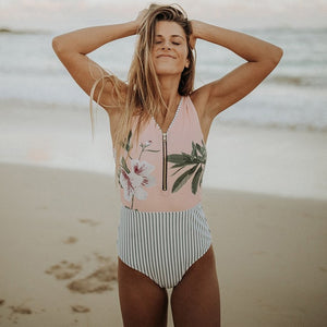Sexy One Piece Swimsuit Swimwear Pinkfrontzip / S