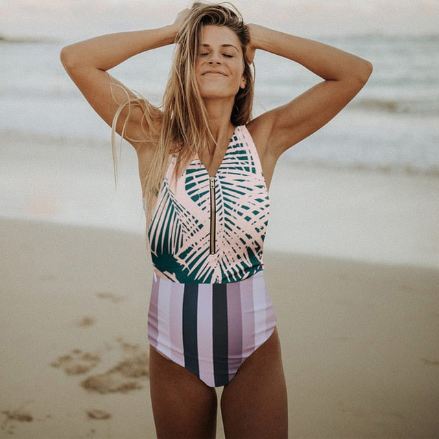 Sexy One Piece Swimsuit Swimwear Stripedfrontzip / S