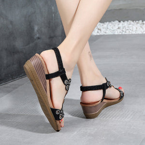 Ladies Crystal Casual Wedges
