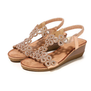 Ladies Crystal Casual Wedges GD / 35