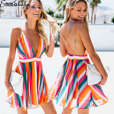 Sleeveless Mini Deep V Summer Dress