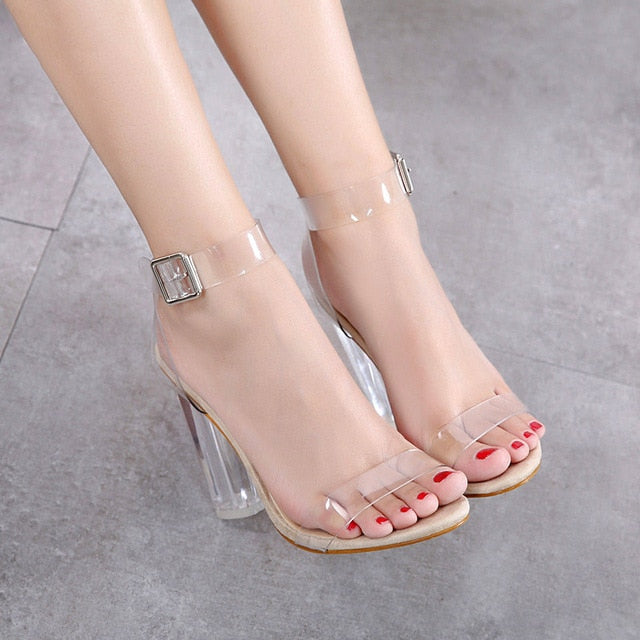 Transparent high heels women shoes apricot / 4