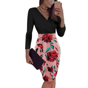 Female Floral Pencil Dress Pink V-neck 1 / XXL